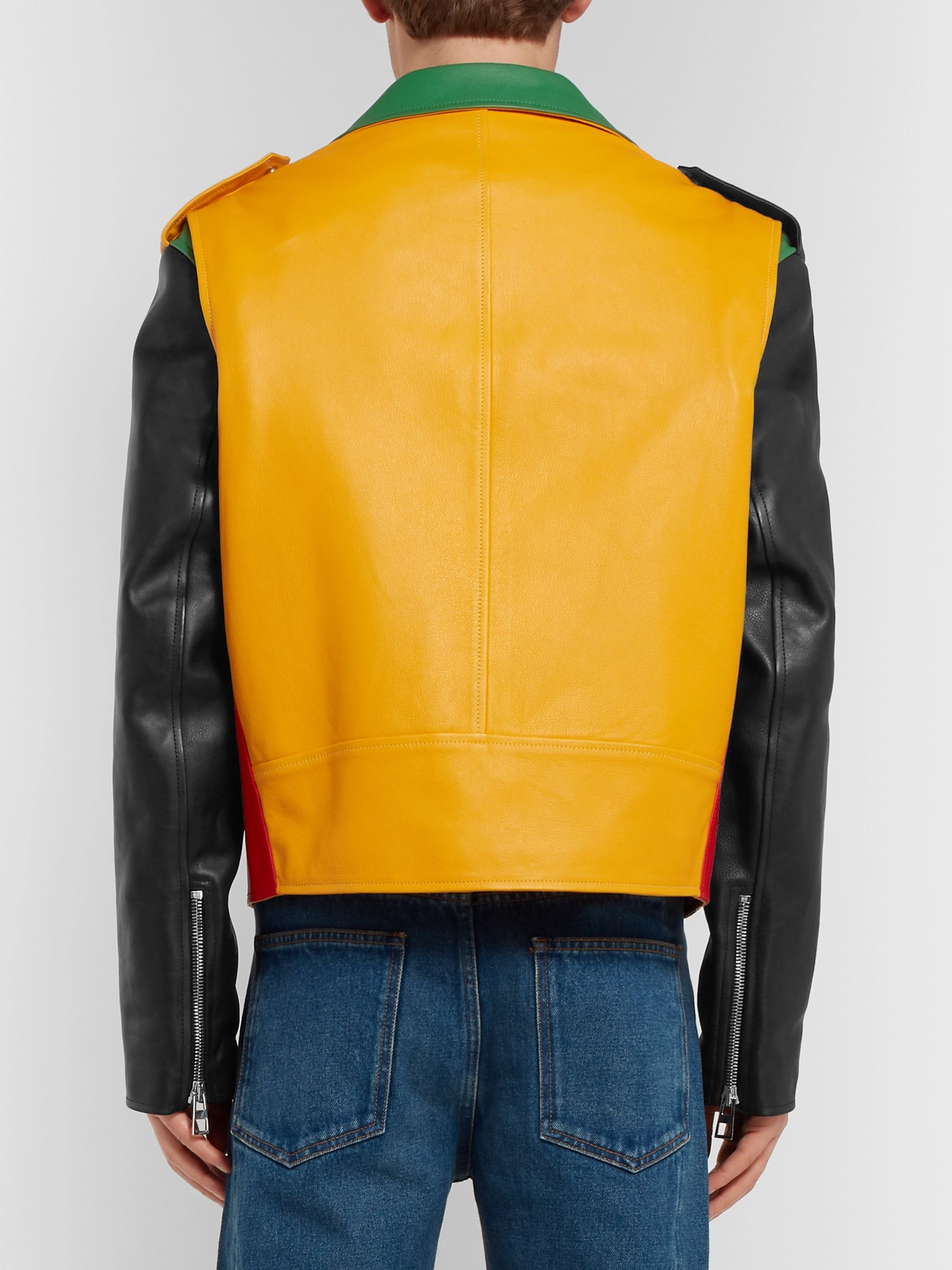 Loewe Oversized Colour-Block Leather Biker Jacket