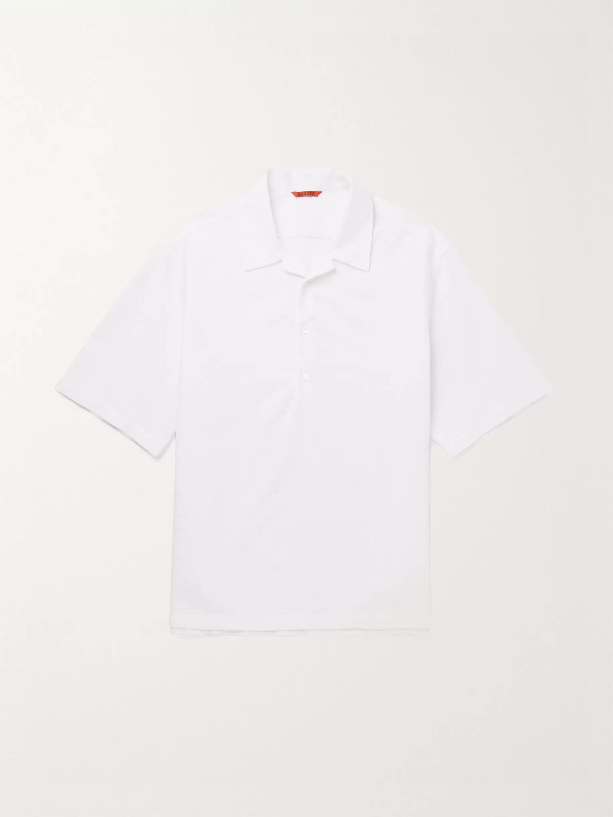 Barena Camp-Collar Honeycomb Cotton Polo Shirt