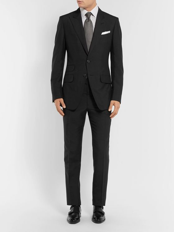 TOM FORD Black O'Connor Slim-Fit Silk-Shantung Suit Jacket