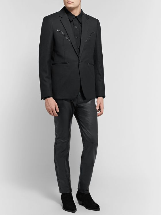 SAINT LAURENT Black Slim-Fit Leather-Trimmed Wool Blazer