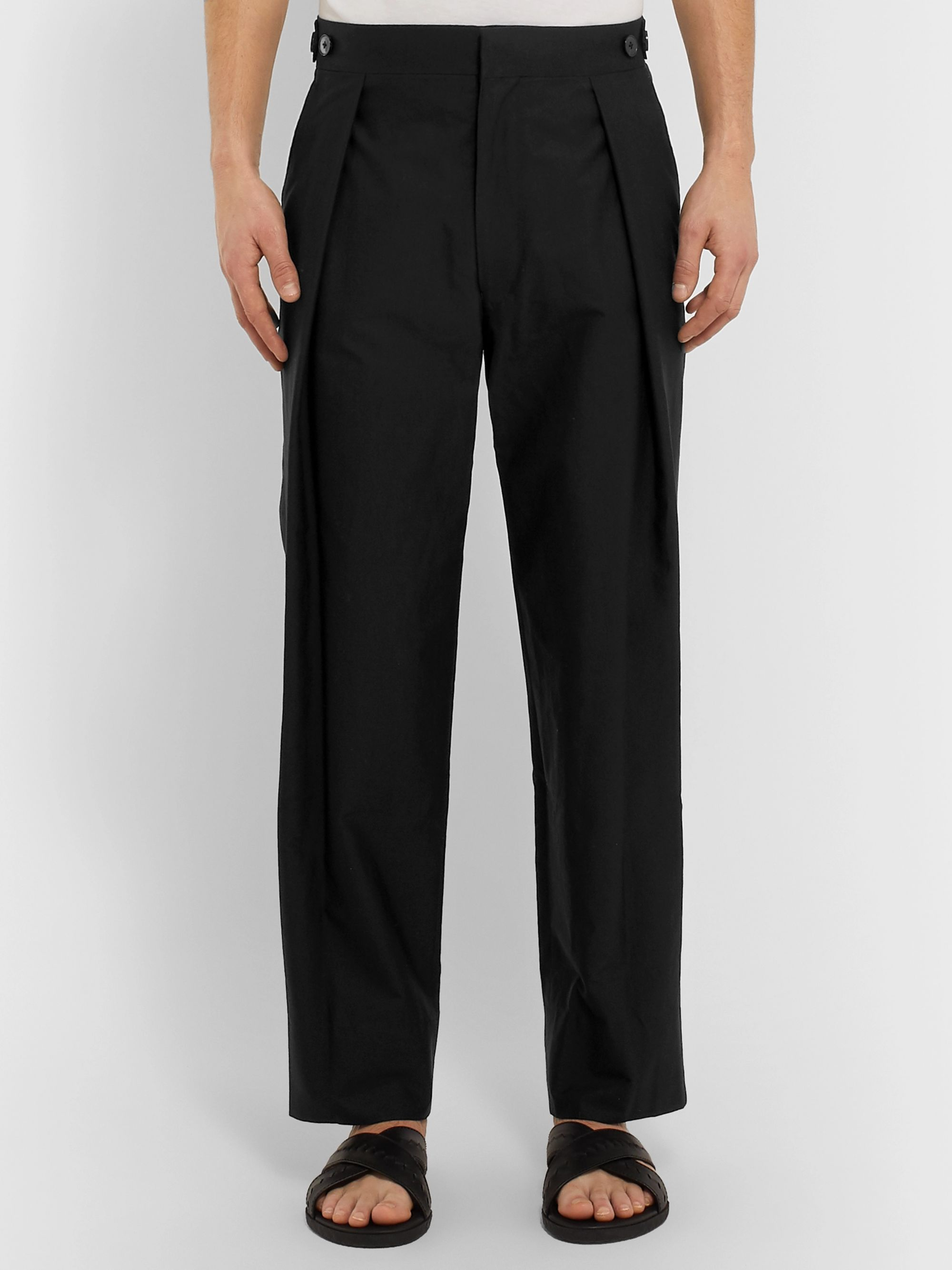 The Row Jonathan Pleated Cotton Trousers