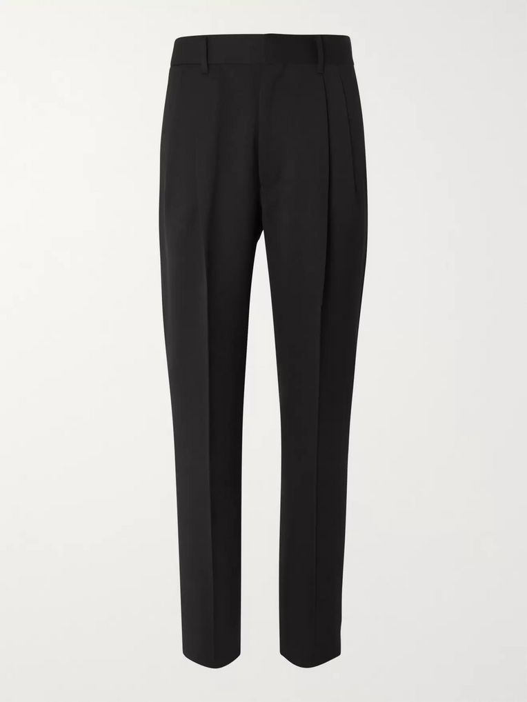 The Row Black Eric Pleated Virgin Wool Trousers