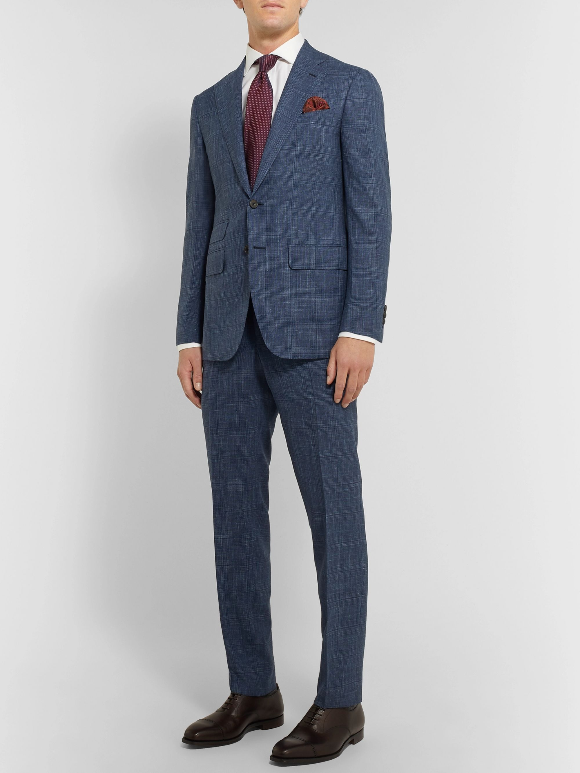 Blue Slim Fit Checked Wool, Silk and Linen Blend Suit Trousers