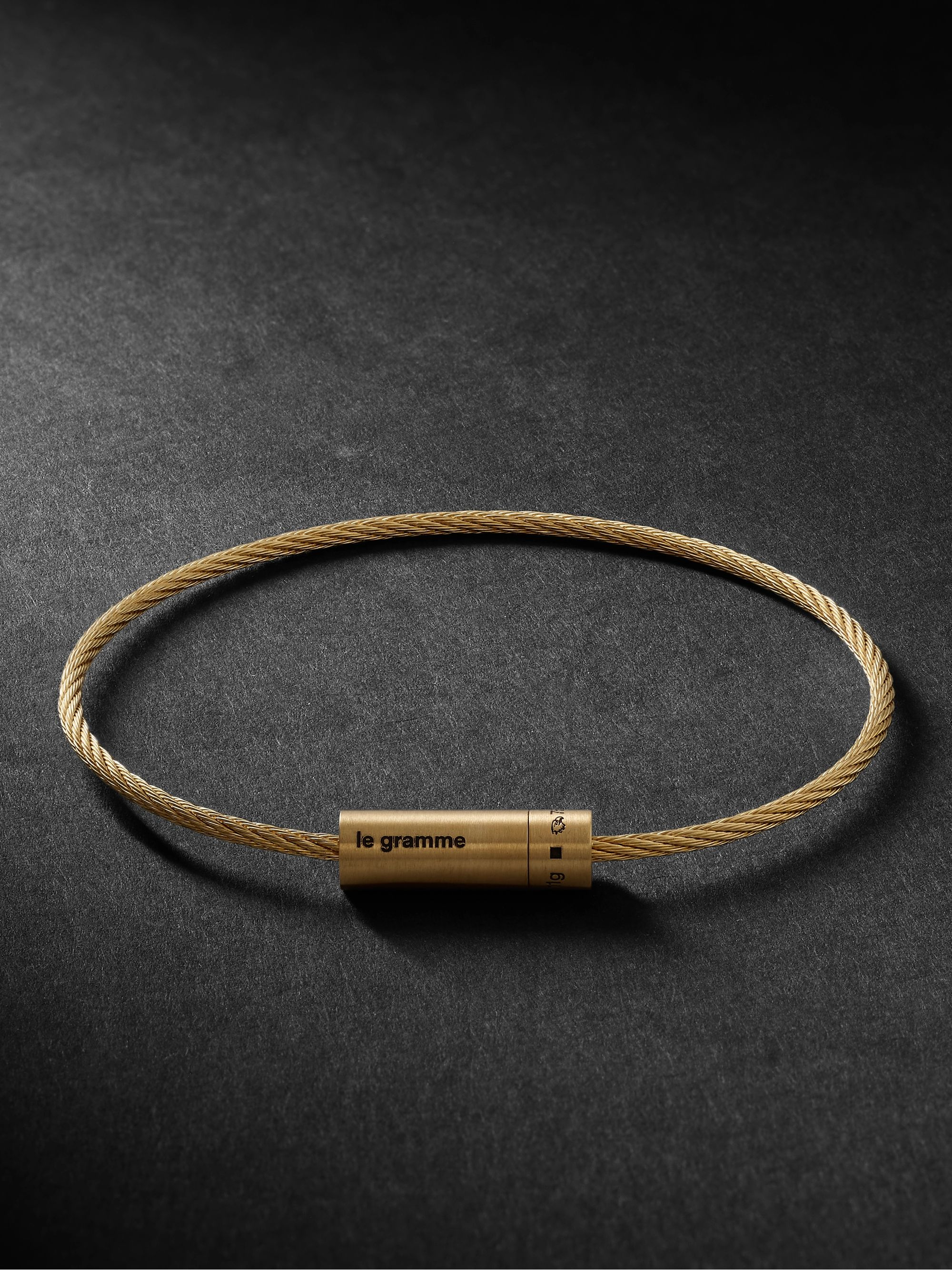 Le Gramme Le 11 Cable Brushed 18-Karat Gold Bracelet