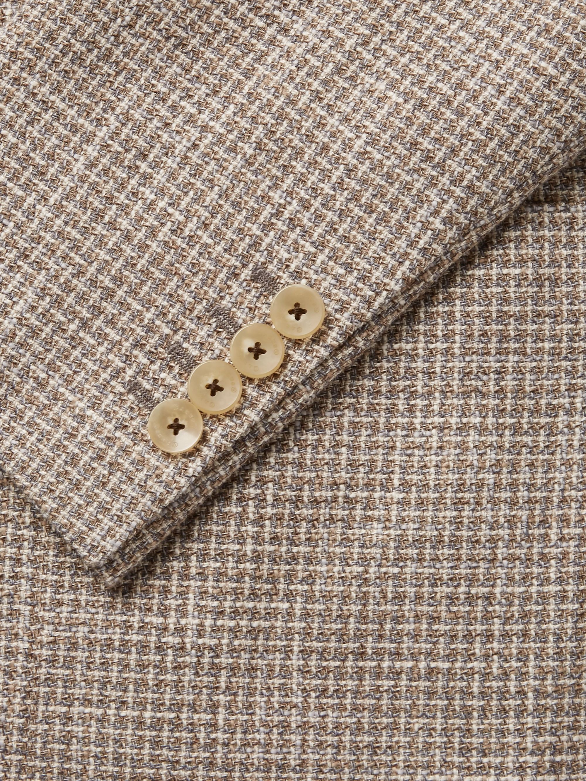 Caruso Beige Butterfly Slim-Fit Cotton, Linen and Silk-Blend Tweed Blazer
