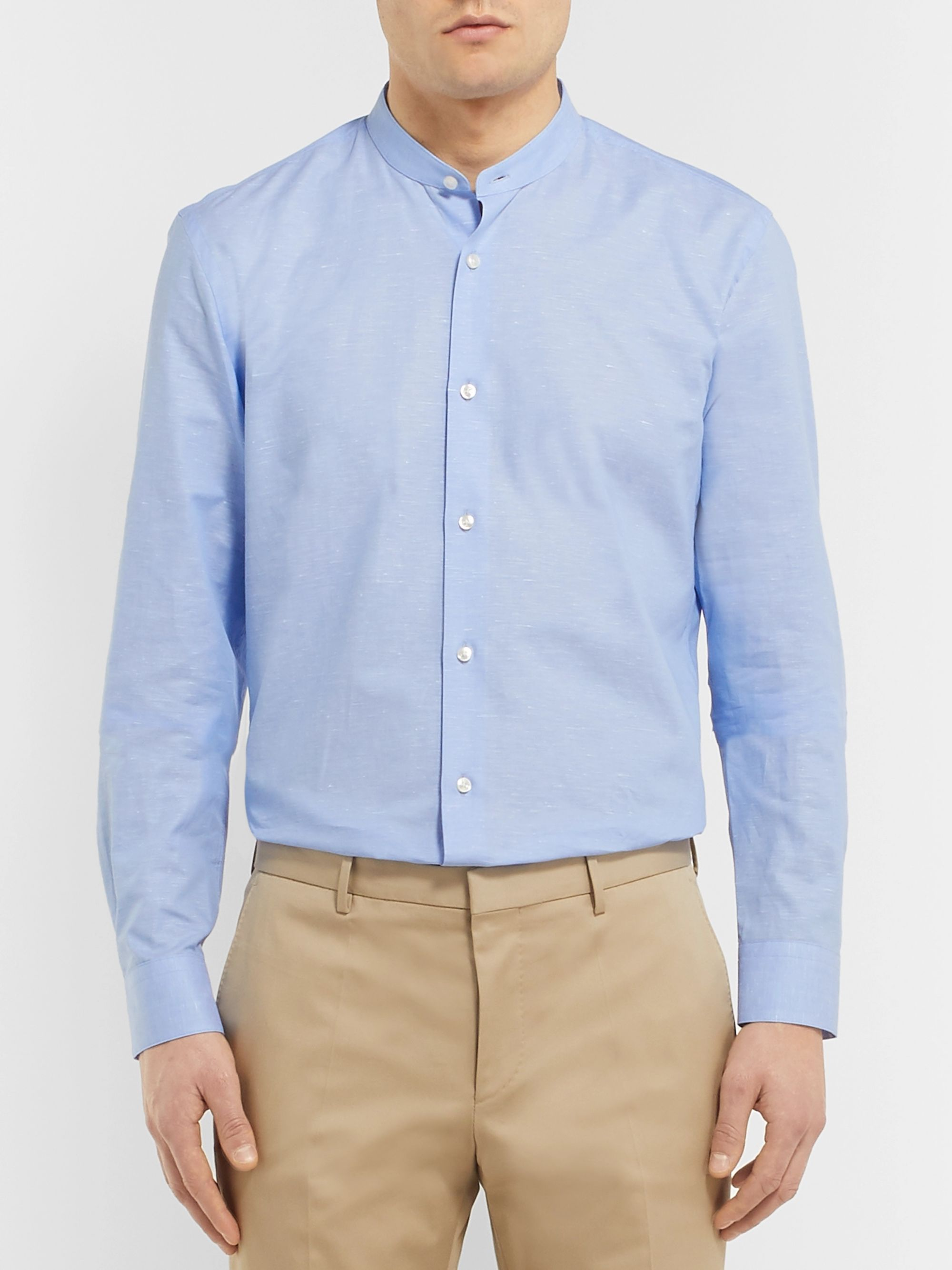 Hugo Boss White Slim-Fit Grandad-Collar Cotton and Linen-Blend Shirt