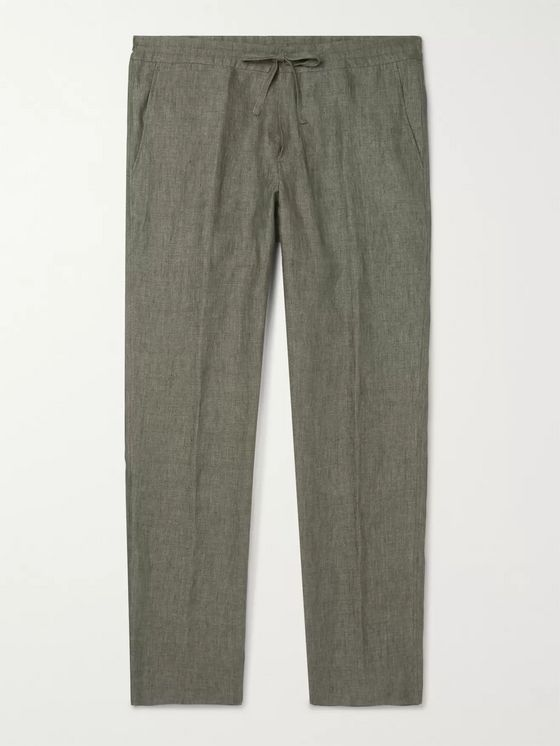LORO PIANA Slim-Fit Linen Drawstring Trousers
