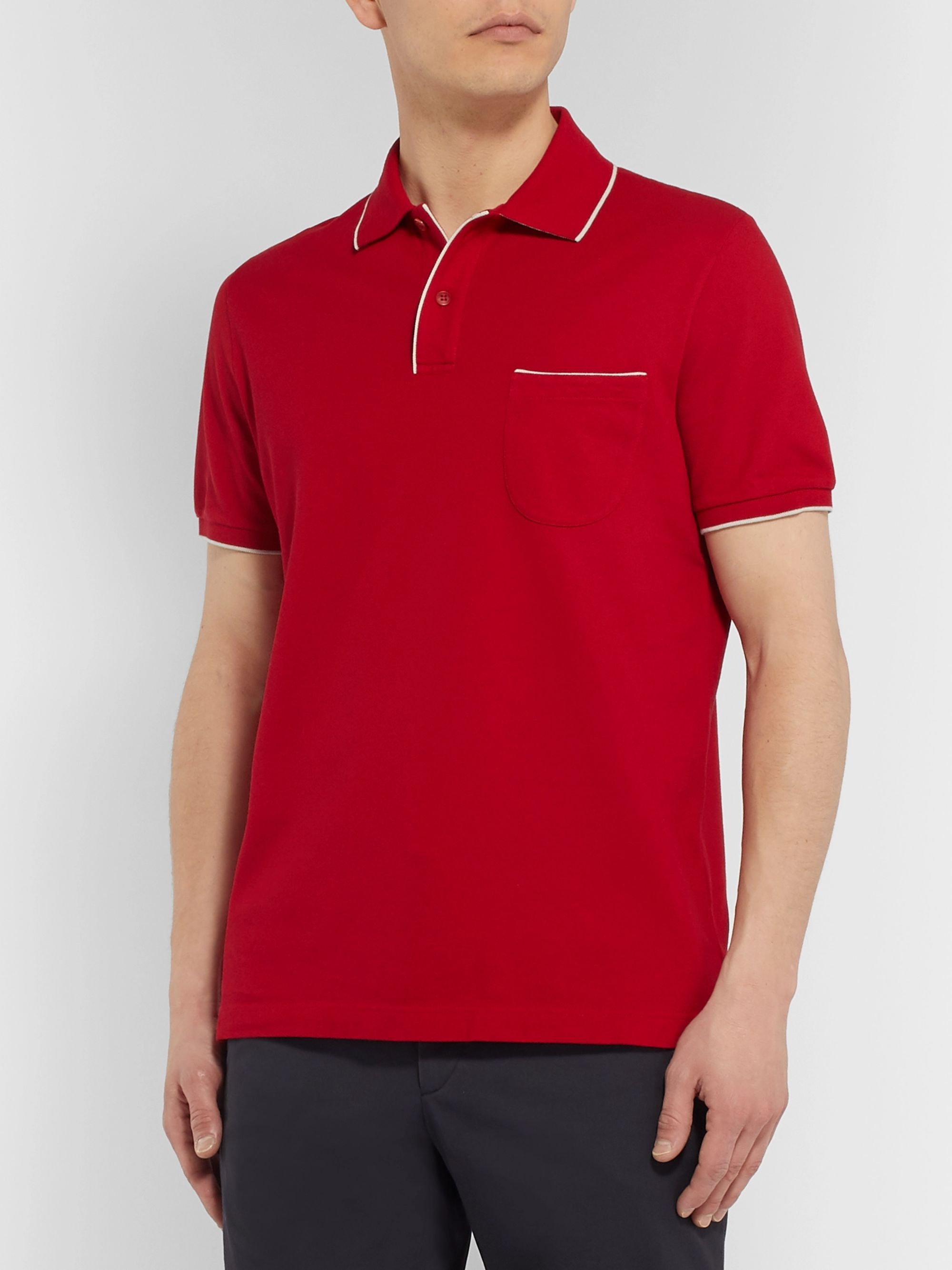 Loro Piana Contrast-Tipped Stretch-Cotton Piqué Polo Shirt