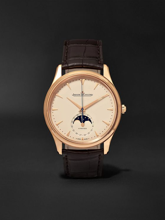Jaeger-LeCoultre Master Ultra Thin Moon 39mm 18-Karat Rose Gold and Alligator Watch