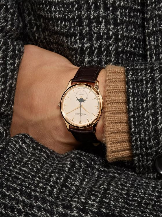 Jaeger-LeCoultre Master Ultra Thin Moon Automatic 39mm 18-Karat Rose Gold and Alligator Watch