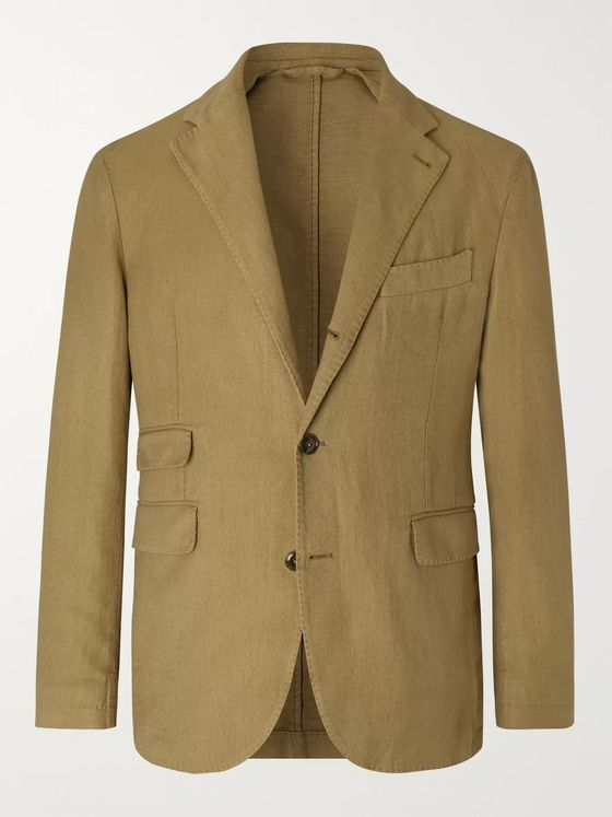 MAN 1924 Tobacco Kennedy Slim-Fit Unstructured Twill Suit Jacket