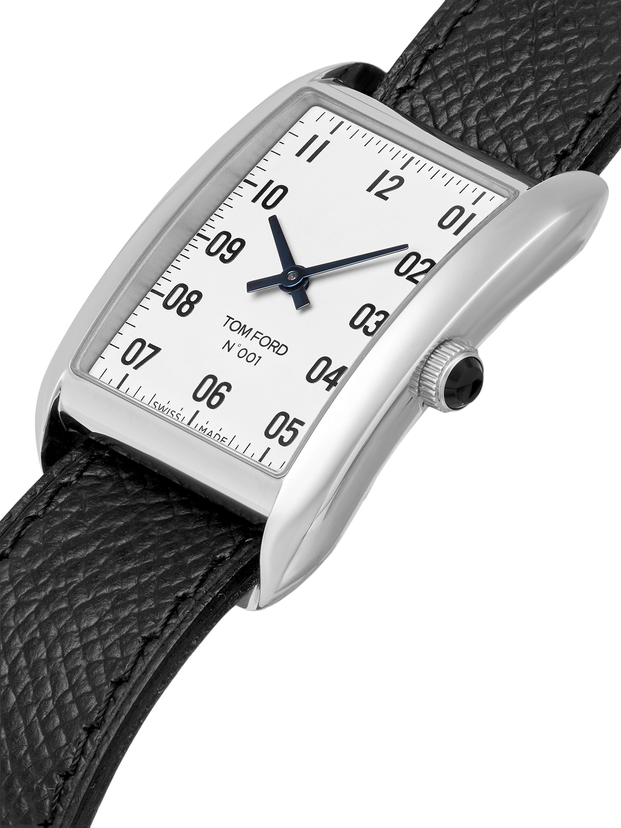 Tom Ford Timepieces 001 Stainless Steel and Pebble-Grain Leather Watch