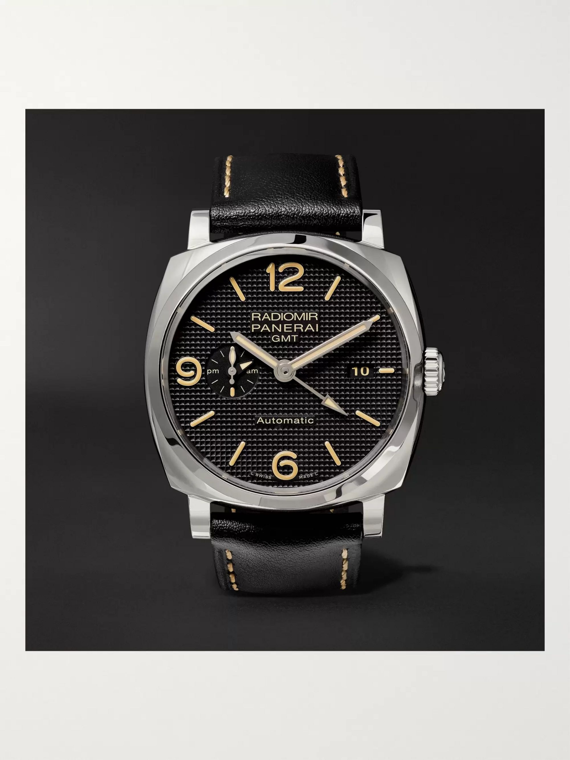 Panerai Radiomir 1940 3 Days GMT Automatic Acciaio 45mm Stainless Steel and Leather Watch, Ref. No. PAM00627
