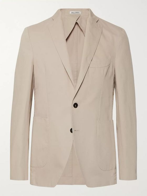 SALLE PRIVÉE Sand Ross Slim-Fit Unstructured Cotton and Linen-Blend Twill Blazer