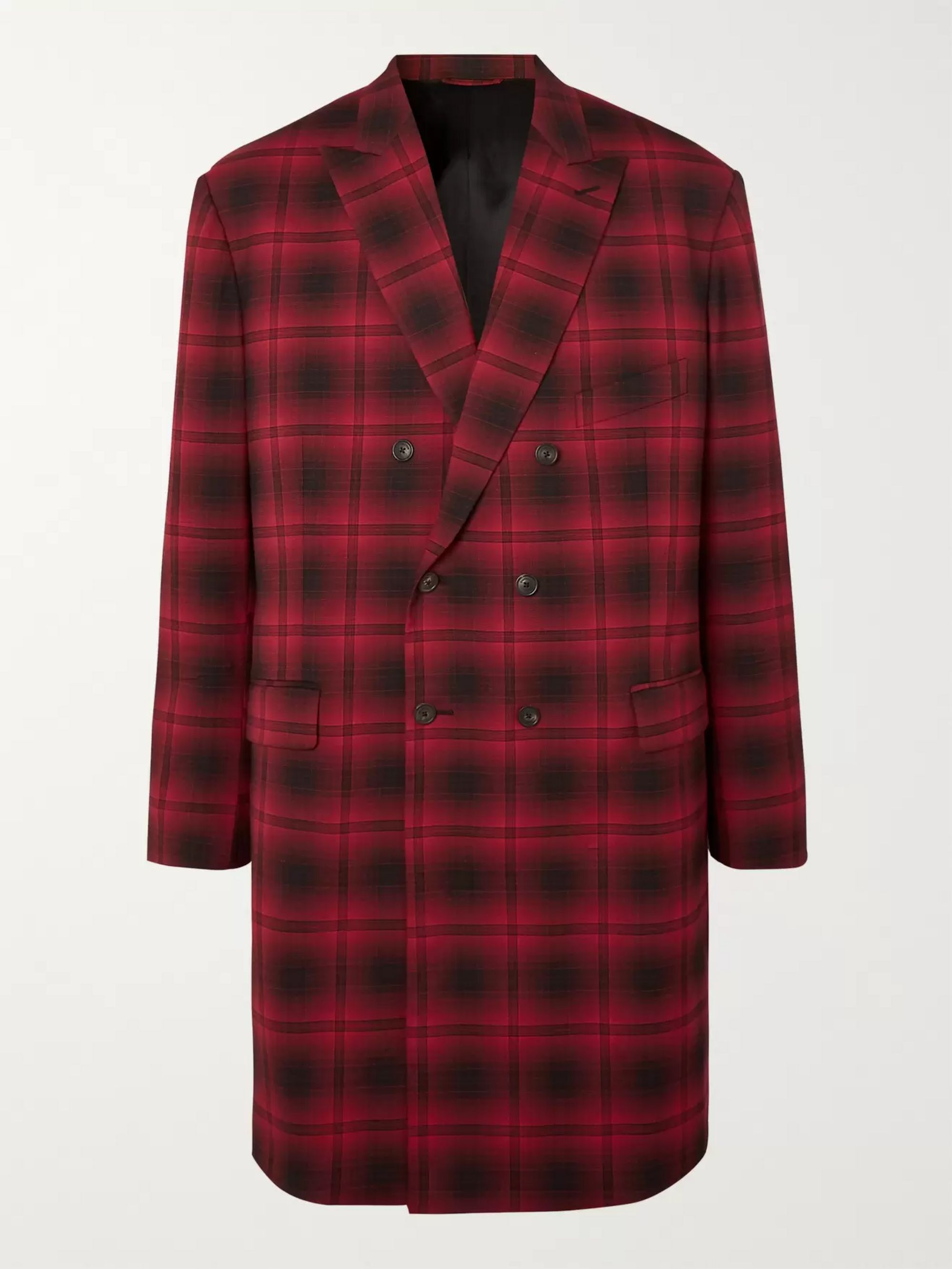 Balenciaga Oversized Double-Breasted Checked Woven Coat