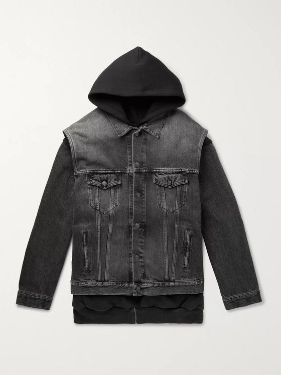 Balenciaga Oversized Denim and Loopback Cotton-Jersey Hooded Jacket