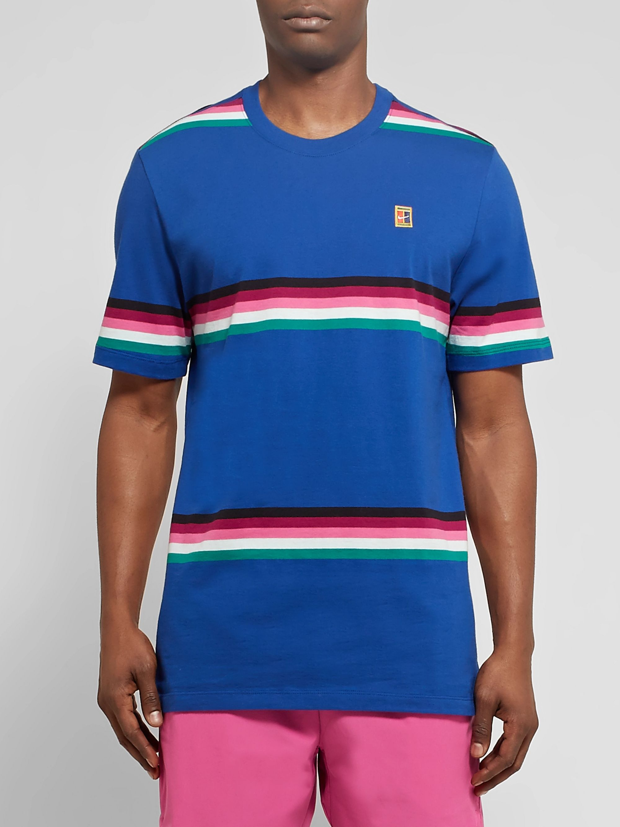 Nike Tennis NikeCourt Striped Cotton-Jersey Tennis T-Shirt
