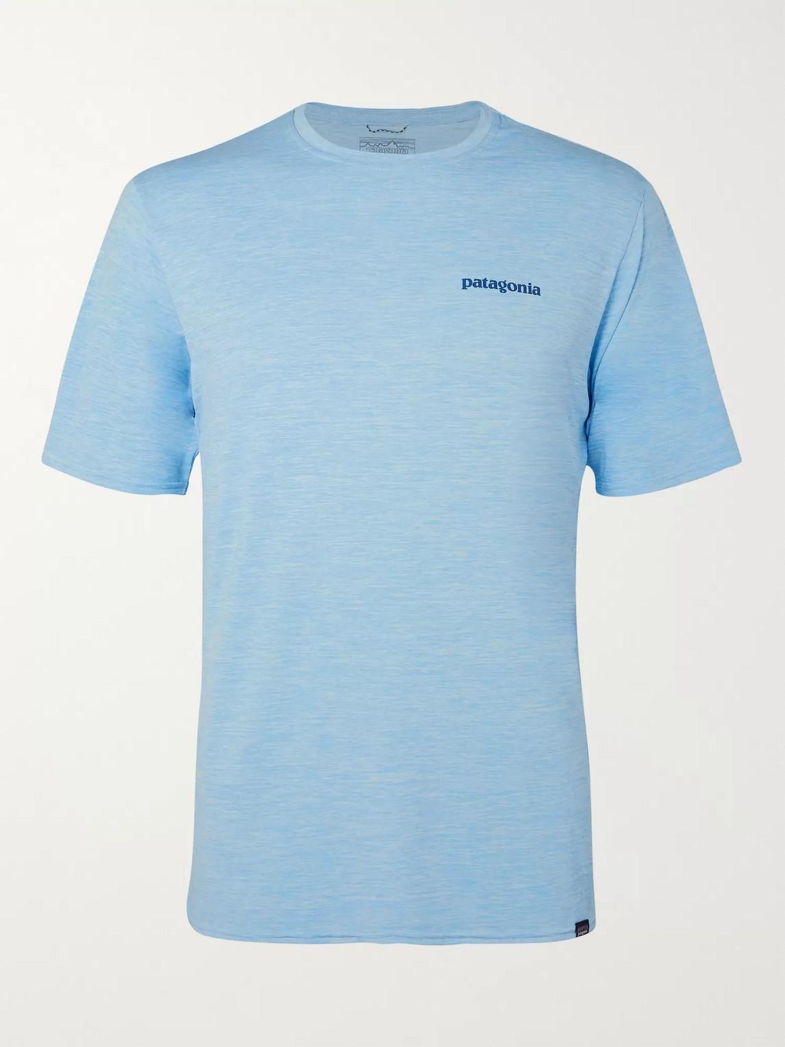 patagonia - logo-print mélange capilene jersey t-shirt - men - blue