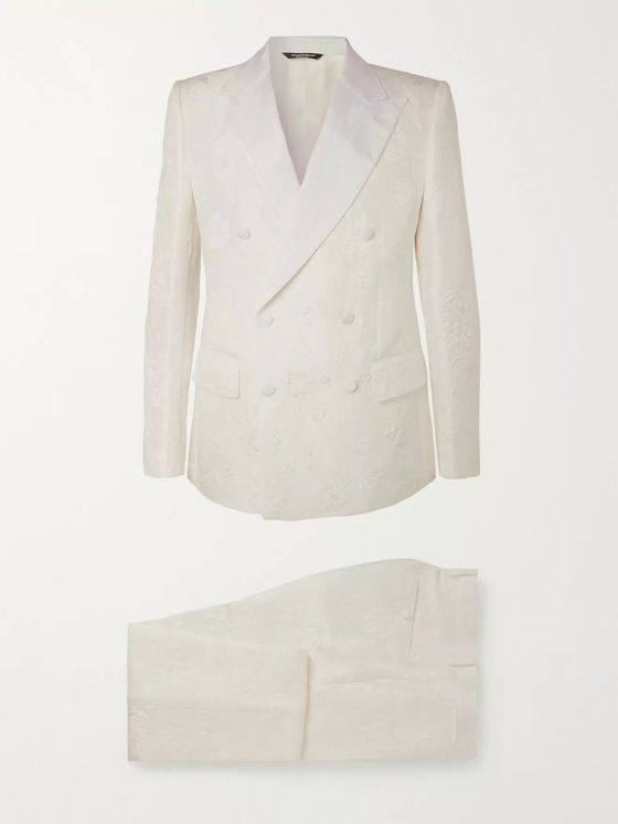Dolce & Gabbana White Slim-Fit Grosgrain-Trimmed Double-Breasted Cotton-Blend Brocade Suit