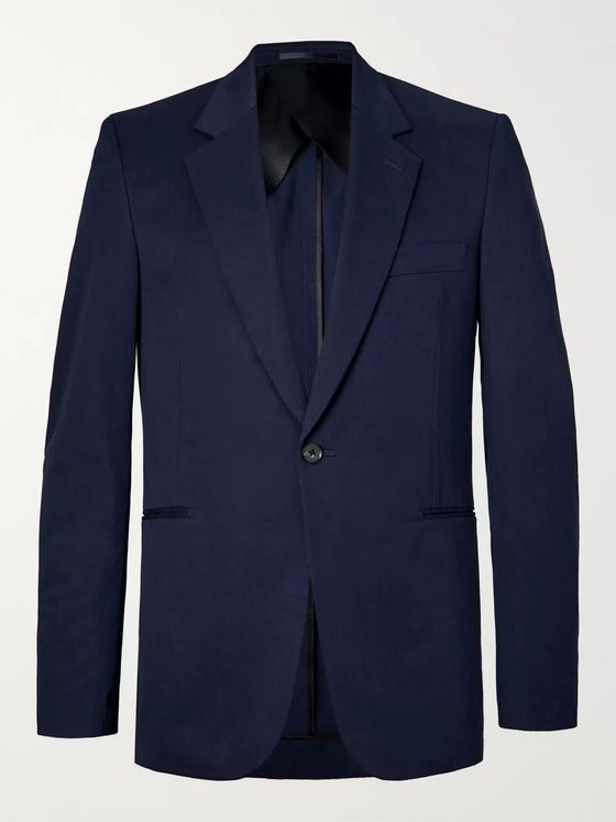 The Row Navy Michel Slim-Fit Cotton and Cashmere-Blend Blazer