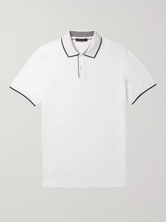 LORO PIANA Contrast-Tipped Stretch Cotton-Piqué Polo Shirt