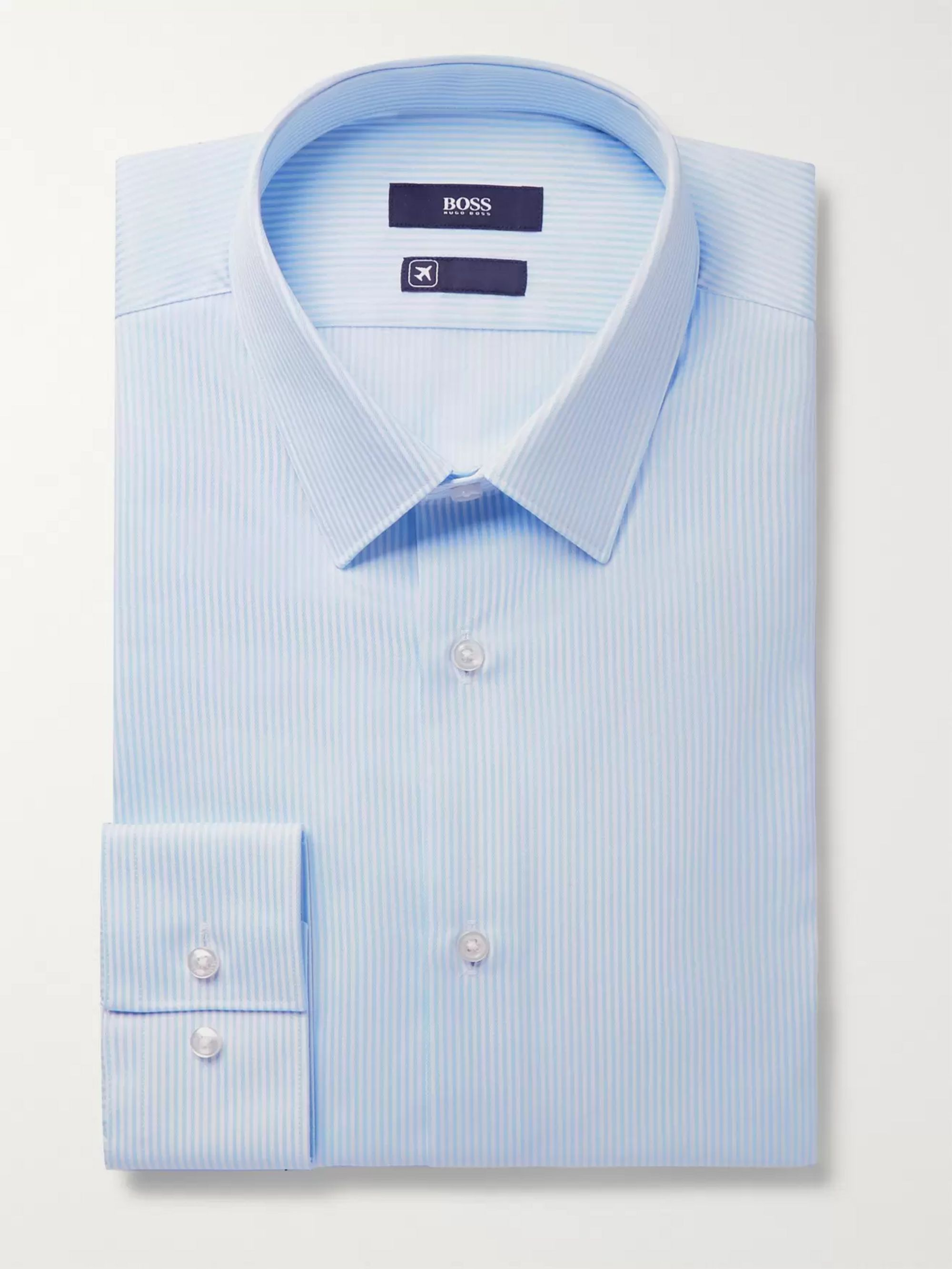 Hugo Boss Blue Elliott Striped Cotton Shirt