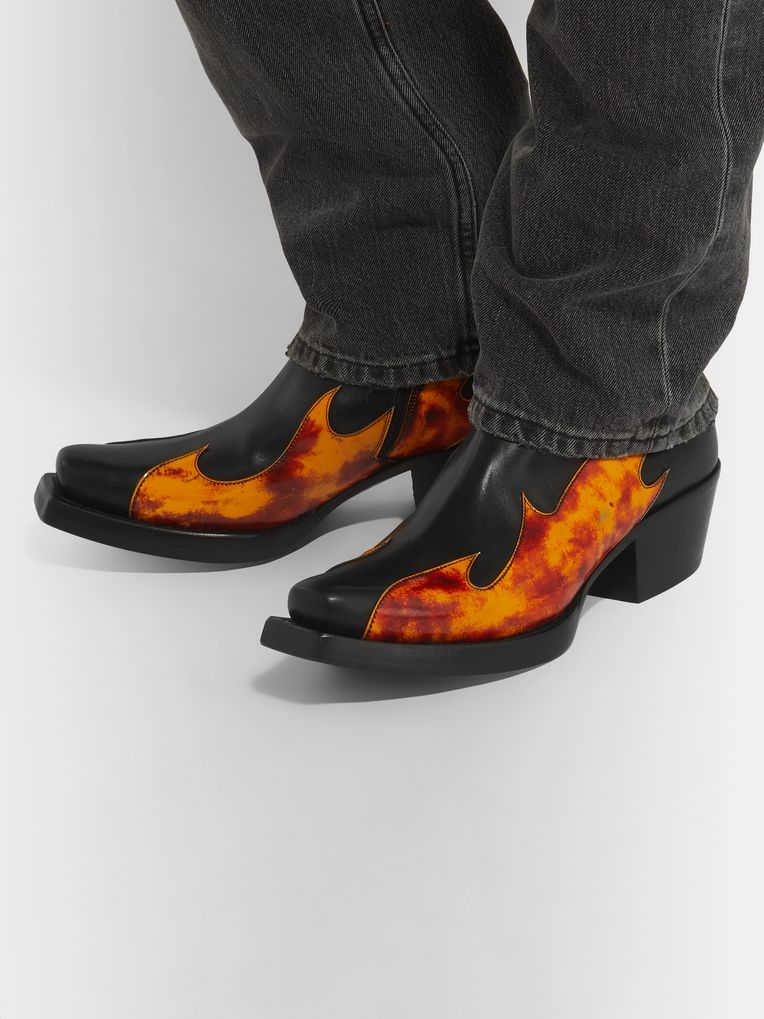 Vetements Flame-Appliquéd Leather Boots