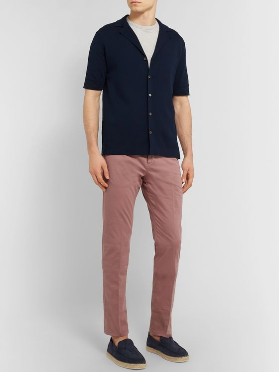 Zanella Noah Navy Slim-Fit Garment-Dyed Stretch-Cotton Chinos