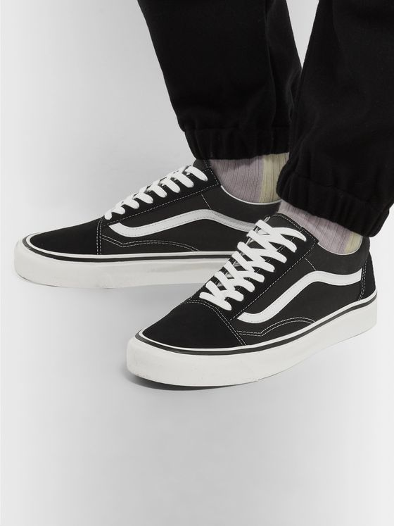 Vans Old Skool Leather-Trimmed Canvas and Suede Sneakers