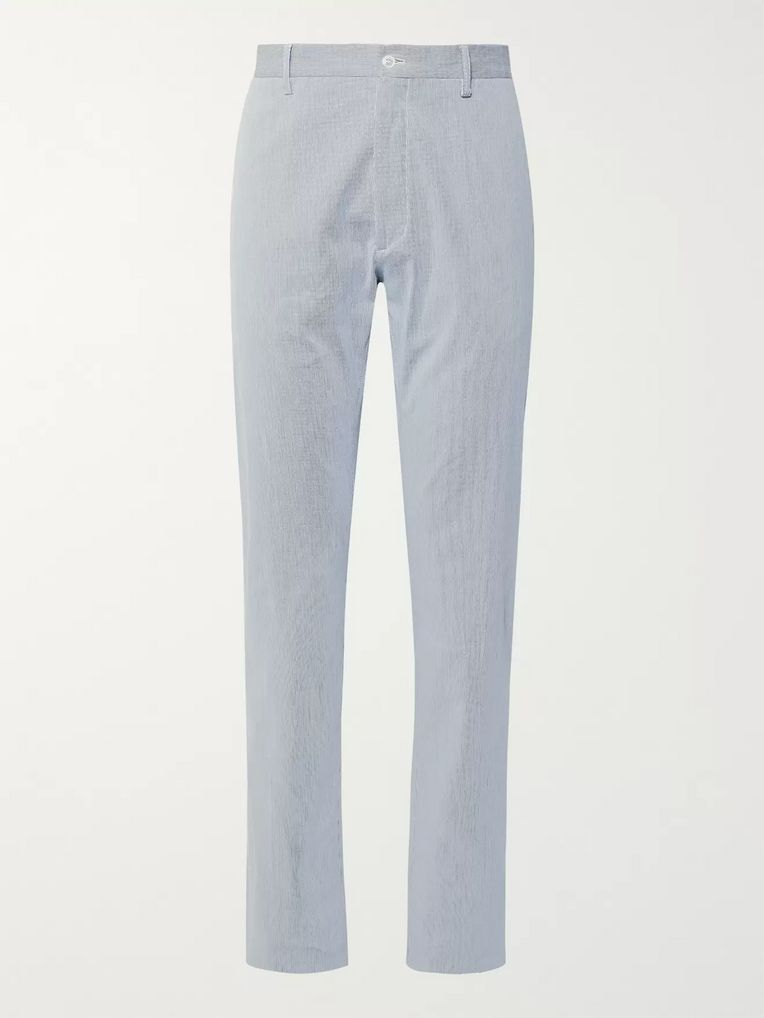 Zanella Noah Slim-Fit Pinstriped Stretch-Cotton Trousers