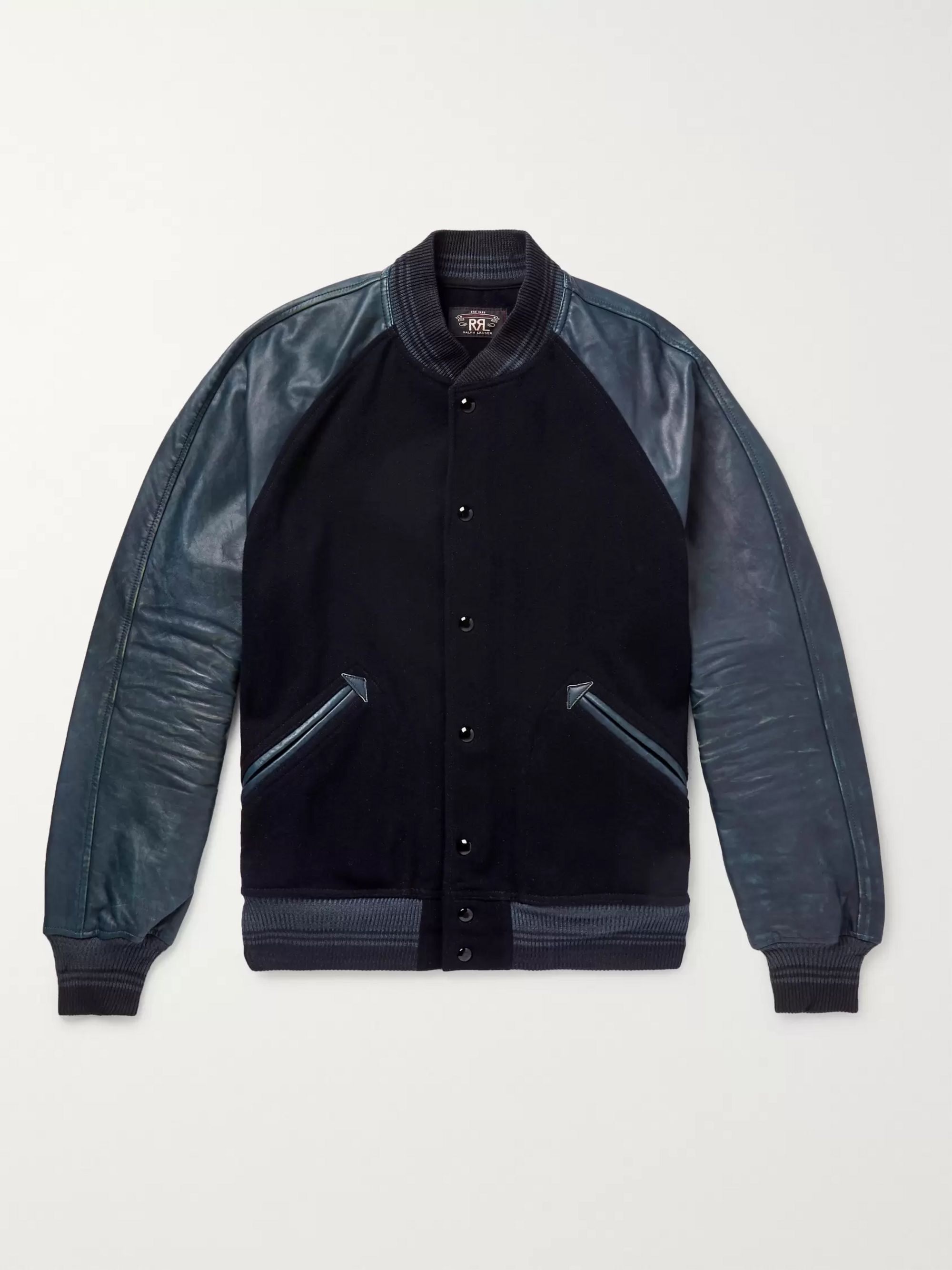 Cotton Blend and Distressed Leather Bomber Jacket