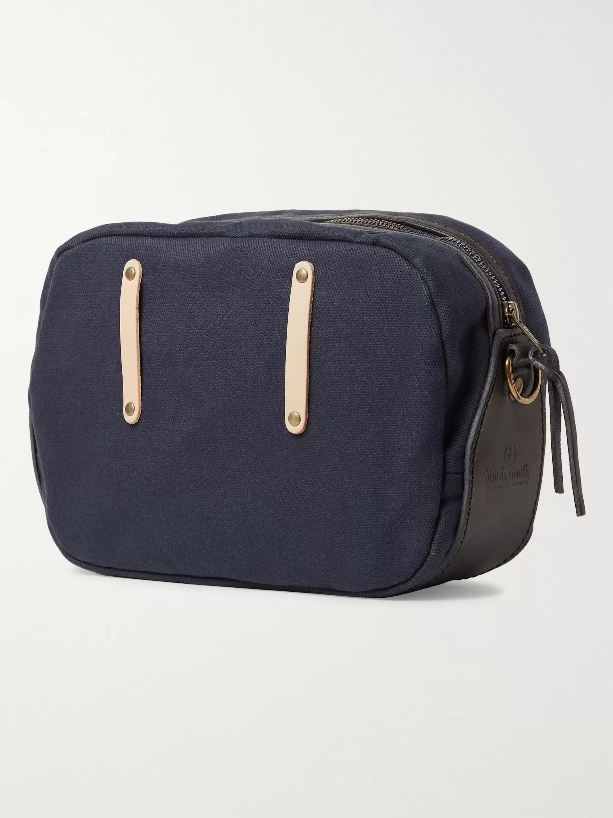 Bleu de Chauffe Leather-Trimmed Canvas Bag