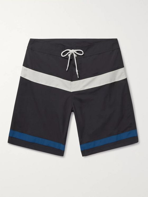 Pilgrim Surf + Supply Ballard Long-Length Striped Swim Shorts