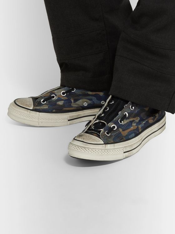 Converse + Undercover Distressed Camouflage-Print Canvas High-Top Sneakers