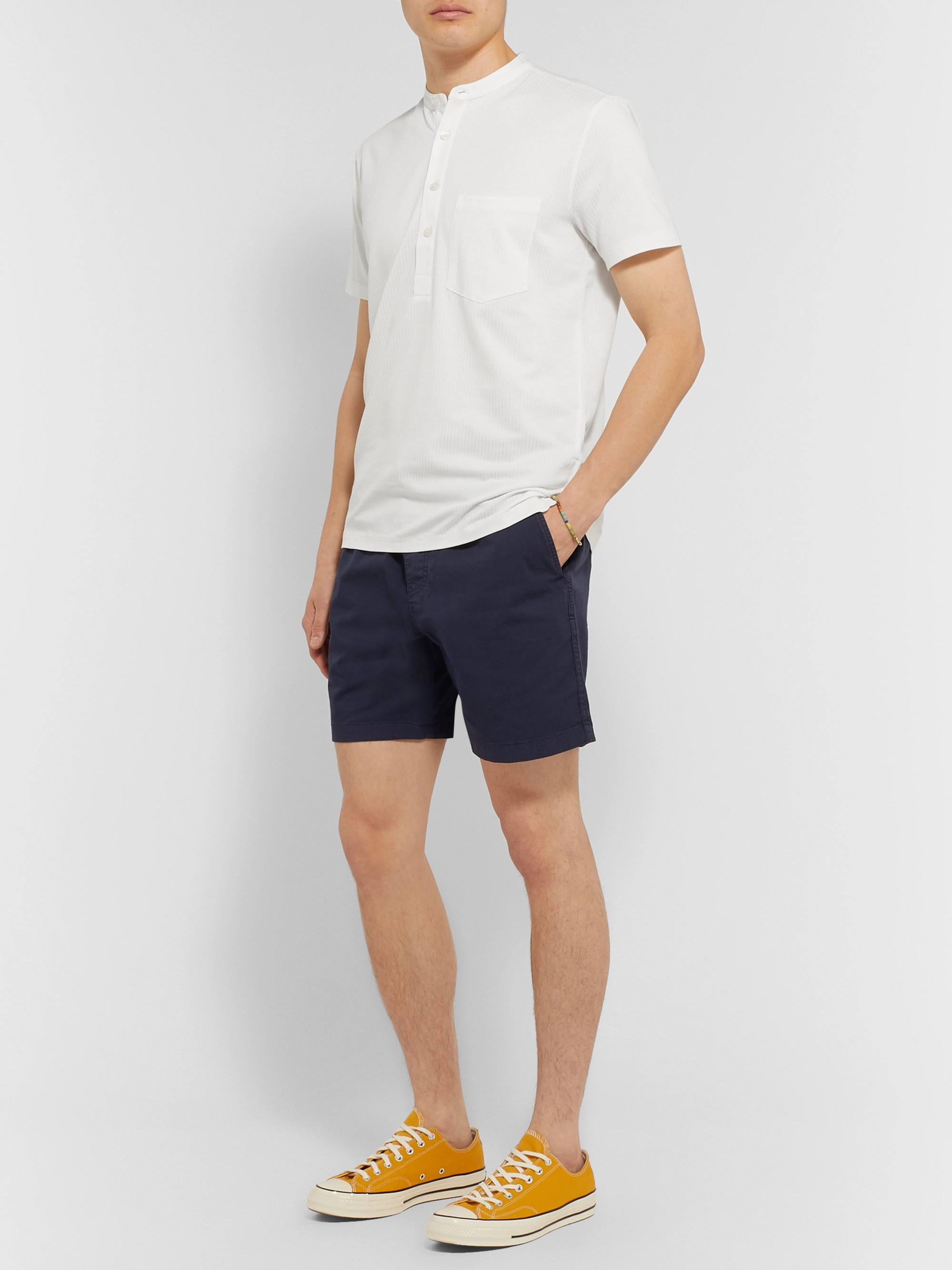 Club Monaco Striped Cotton-Blend Jersey Henley T-Shirt
