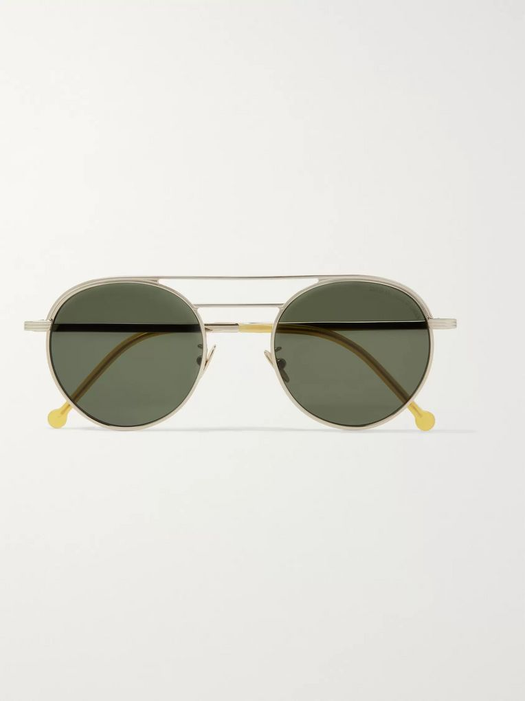 Cutler and Gross Round-Frame Engraved Silver-Tone Sunglasses