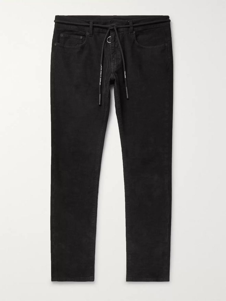 Off-White Slim-Fit Stretch Cotton-Corduroy Trousers