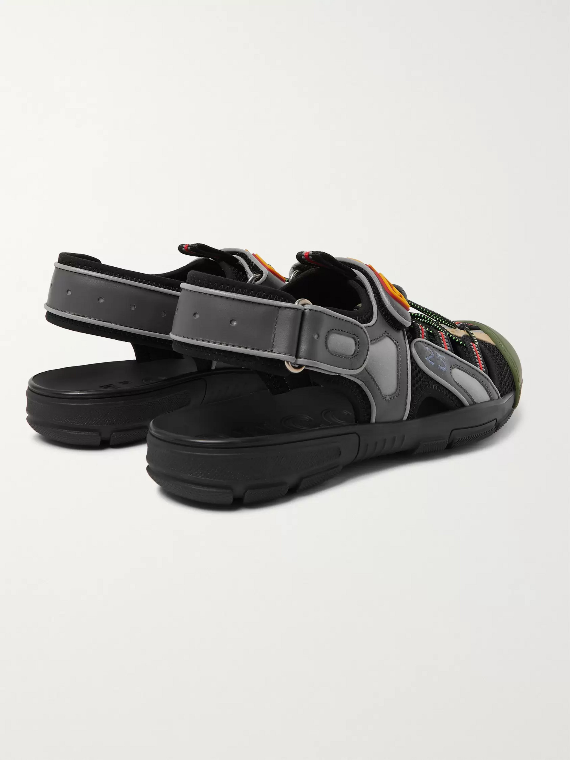 Gucci Logo-Detailed Rubber, Leather and Mesh Sandals