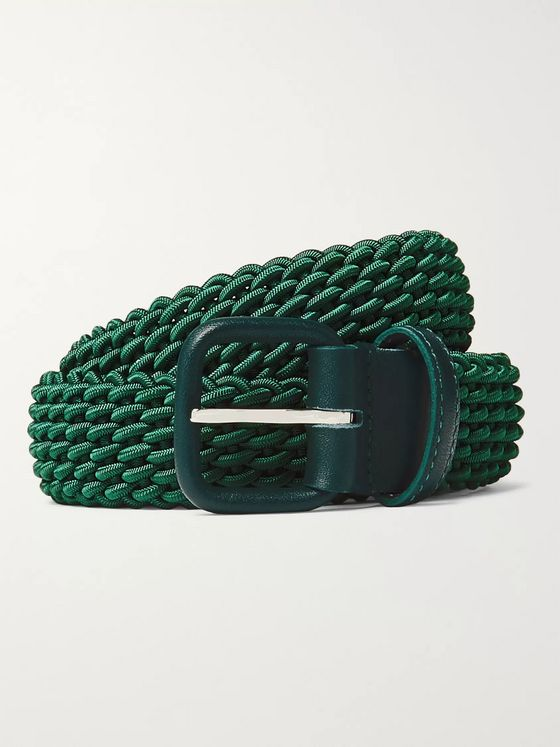 Charvet 3cm Dark-Green Leather-Trimmed Woven Elastic Belt