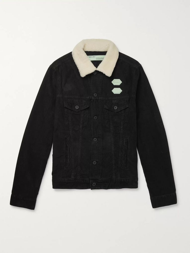 Off-White Faux Shearling-Trimmed Cotton-Corduroy Jacket