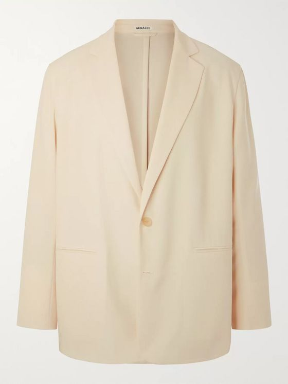 Auralee Cream Unstructured Wool-Twill Suit Jacket