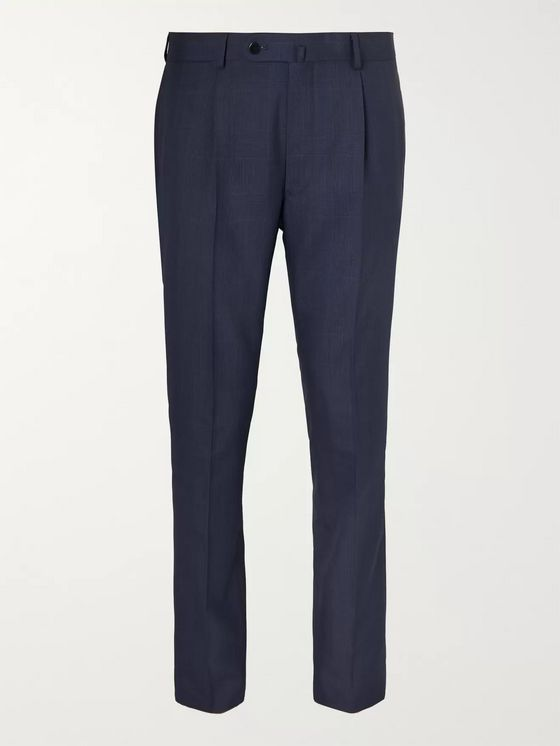 Beams F Navy Slim-Fit Pleated Prince of Wales Checked Wool Suit Trousers