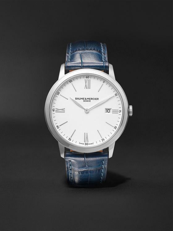 BAUME & MERCIER Classima 40mm Steel and Croc-Effect Leather Watch, Ref. No. 10508