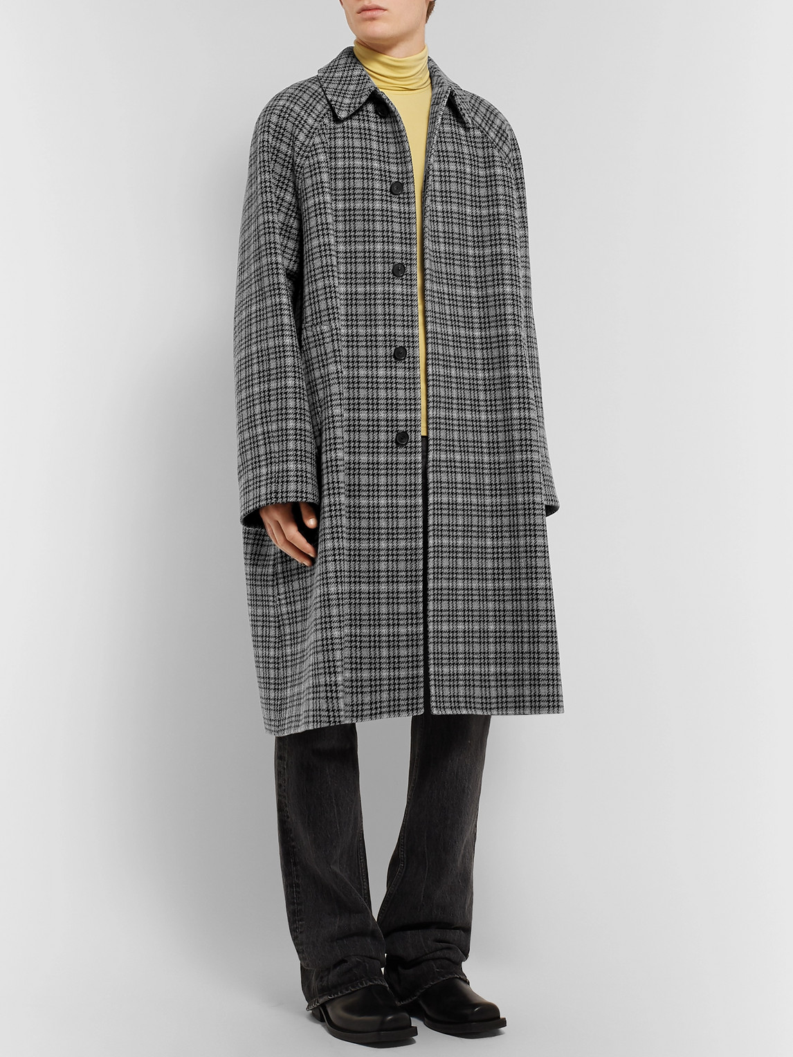 Balenciaga Coats OVERSIZED CHECKED VIRGIN WOOL-TWEED COAT