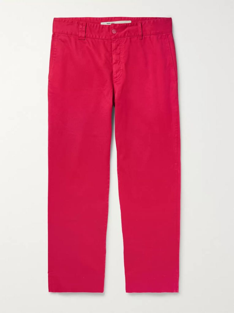 Off-White Wide-Leg Stretch-Cotton Twill Trousers