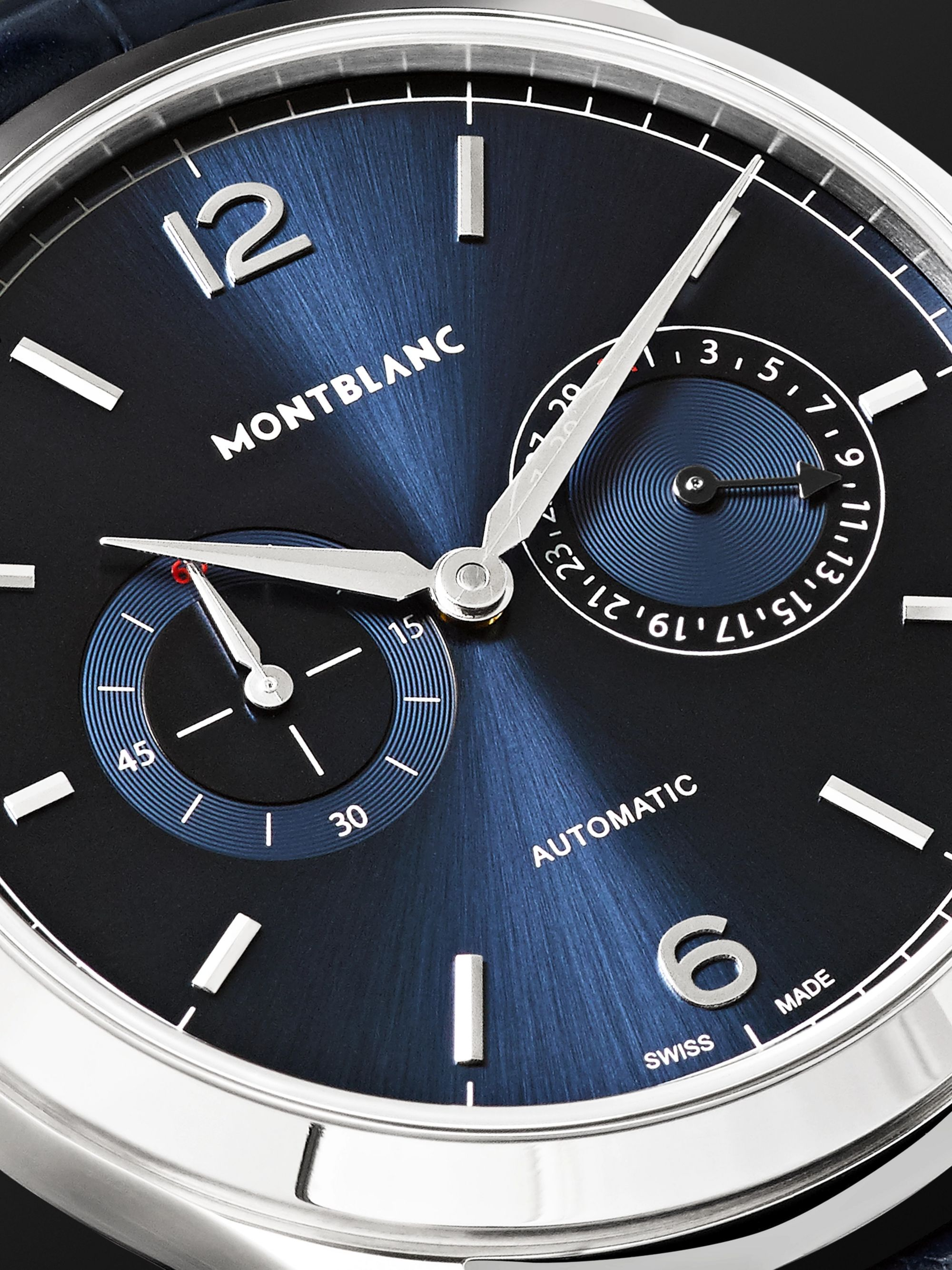 Montblanc Heritage Chronométrie Twincounter Date Automatic 40mm Stainless Steel and Alligator Watch, Ref. No. 116244
