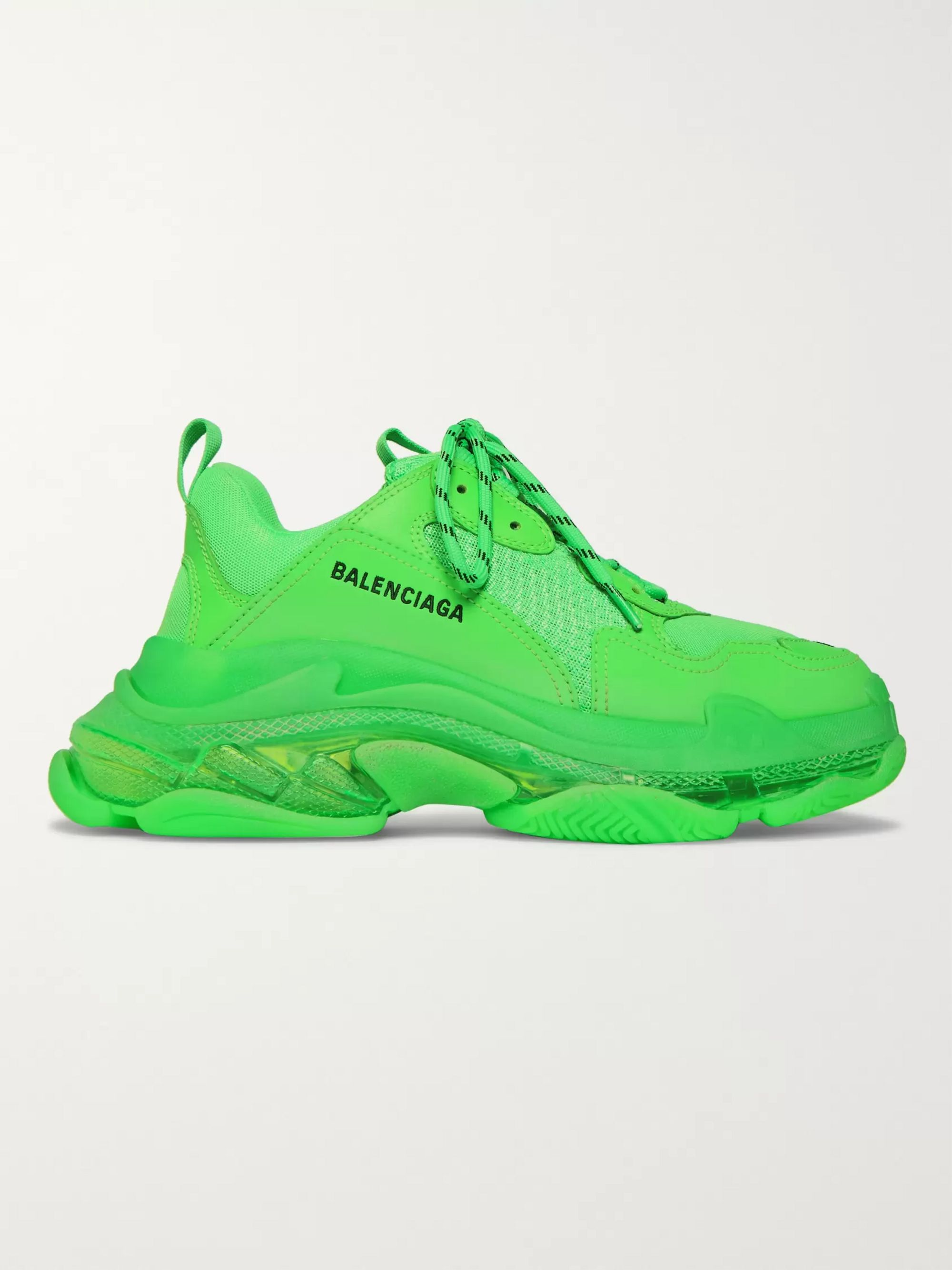Triple S Clear Sole Mesh, Nubuck and Leather Sneakers