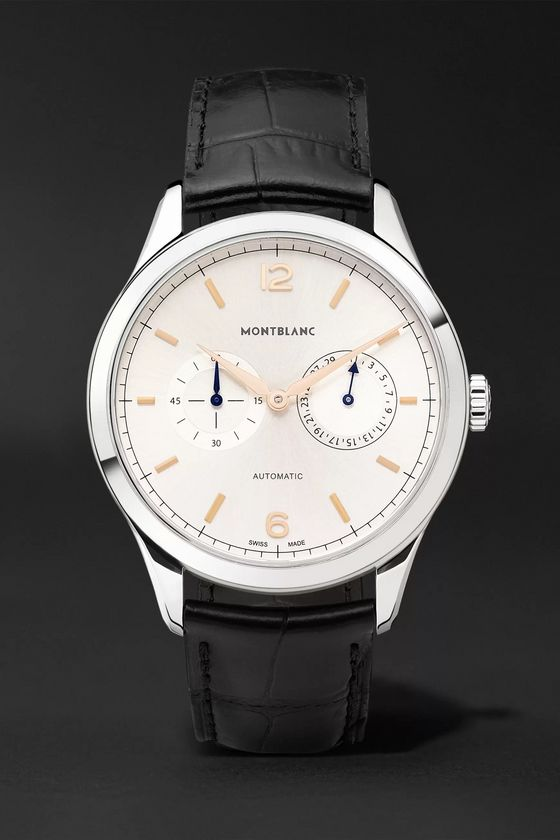 Montblanc Heritage Chronométrie Twincounter Date Automatic 40mm Stainless Steel and Alligator Watch, Ref. No. 114872