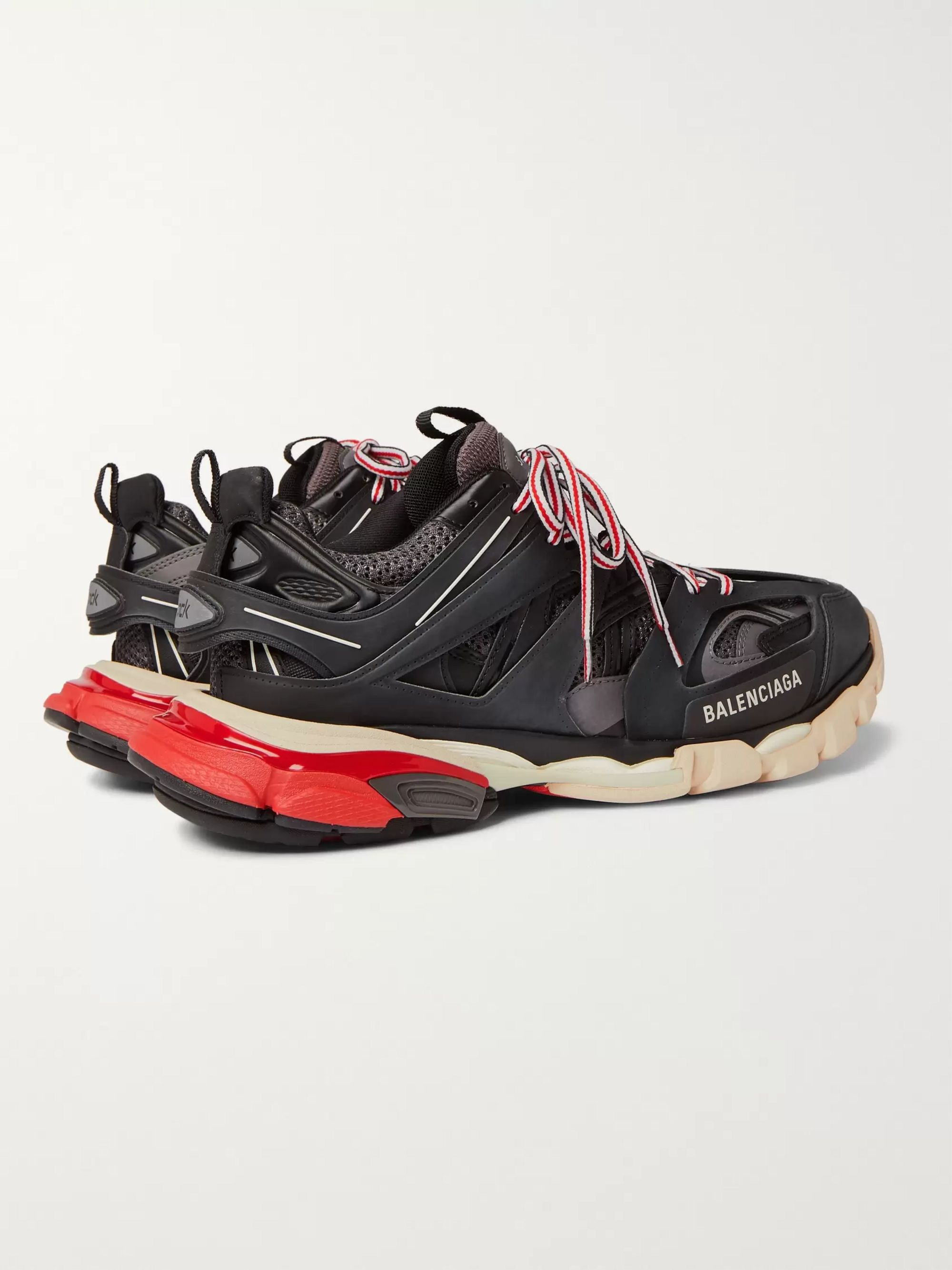 Balenciaga Track Leather, Mesh and Rubber Sneakers