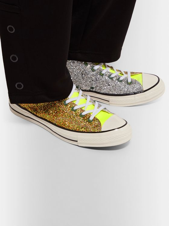 + JW Anderson 1970s Chuck Taylor All Star Glittered Canvas High Top Sneakers